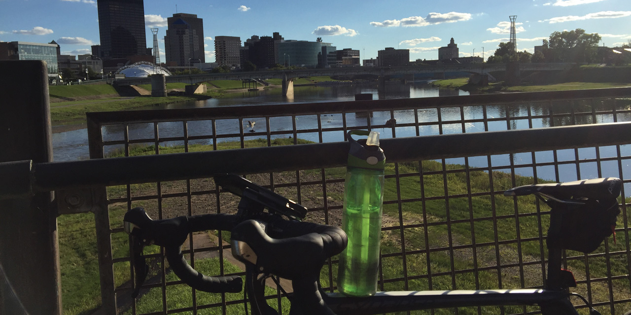 Biking Downtown Dayton